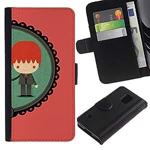 SAMSUNG Galaxy S5 V / i9600 / SM-G900 Modelo colorido cuero carpeta tirón caso cubierta piel Holster Funda protección - Boy Ginger Redhead Teal Peach
