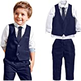 Kids Baby Boys Gentleman Wedding Suits Party Wear Pant, Shirt, Tie, and Waistcoat Clothing Set