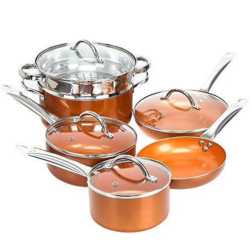 Shineuri Cookware Sets  Non Stick Sauce Frying Skillet Roasting Pots And Pans With Athermic Stainless Steel Handle  Apply To Electric  Gas  Ceramic  Induction  Pack 10  Non Toxic Kitchen Fry Basket