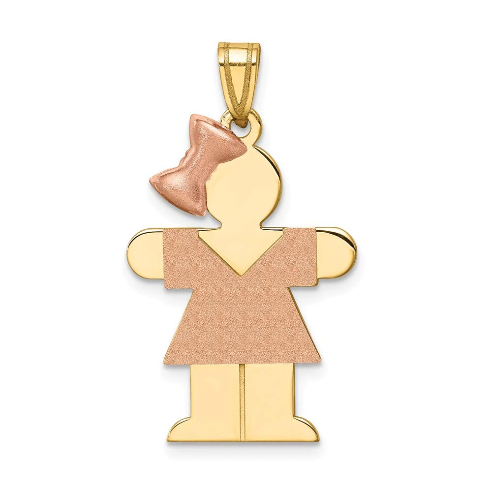 Solid 14k Two Tone Large Girl w//Bow on Left Engravable Charm Pendant 30mm x 20mm