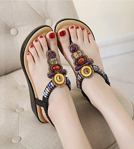 Peep Filles Grande Sandales Plage d'été Plage Bohème Plage Taille Sur Belle Cool Femmes Dames Chaussures Occasionnels Perlées Chaussures Black Chaussures D'été Vacances Plat Slip Sandale Doux Extérieure Toe n0q6wSwX