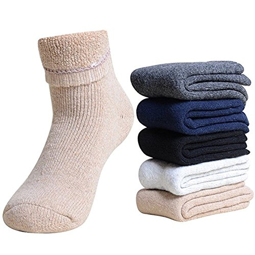 Elufly 3-5 Pack Men Extra Thick Wool Dress Socks Thermal Winter Boot Socks 8-14US(Multicolor) ()