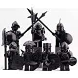 互換 ミニフィグ 騎士 鎧 暗黒色 7体セット 武器防具付き