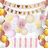 Girls Baby Shower Decorations for Girl Pink and Gold Baby Shower Pink Party Decorations Including Latex Balloons Tassels Pom Poms Paper Lantern and Baby Girl Banner