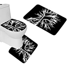 AGILFROT Design Soft Bath Mat Rug Set 3 Piece Deviantart More Like Music Notes Black And White Non Slip Bathroom Rug Large Contour Mat With Lid Cover Home Floor Decor