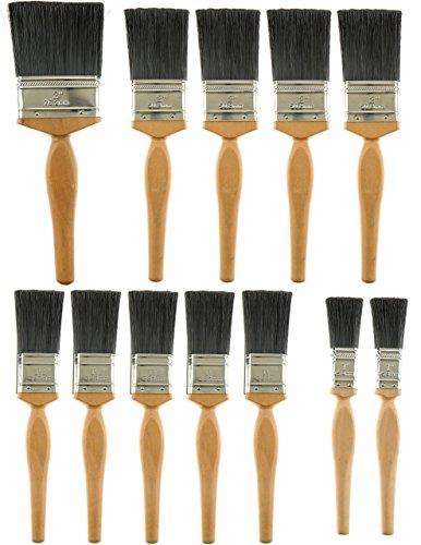 Unity 12-Piece Paint Brush Set -Long Pro Style Wooden Handles - Pure Bristle and Synthetic Filament Blend - Interior Exterior - DIY Value Pack