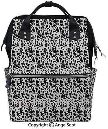 Multi-Function Travel Backpack,Black and White Puppy Spots Fur Pattern Fun Spotted Pets Animal Decor White Black,15.7 inches,Fashion Mummy Waterproof for Baby Care