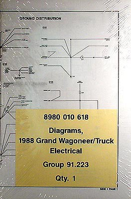 1988 Grand Wagoneer, J-10 & J-20 Pickup Truck Wiring Diagrams Original