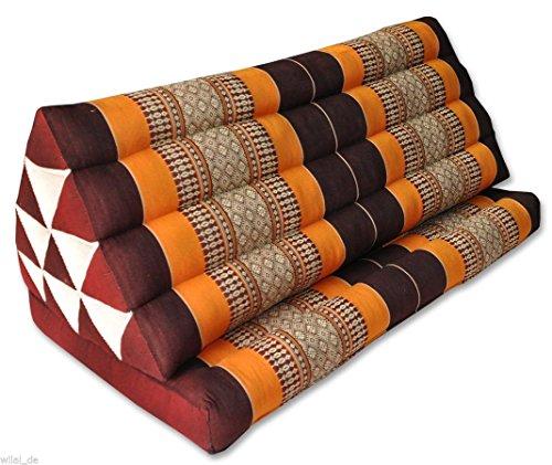 Thai triangle cushion XXL, with 1 folding seat, brown/orange, sofa, relaxation, beach, pool, meditation, yoga, made in Thailand. (81116) by Wilai GmbH