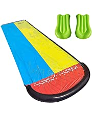 Lawn Water Slides, Backyard Games - Double Lane Water Splash Slide Backyard Toys, Water Slides with Crash Pad and Slide Pad, Water Slides for Kids Backyard