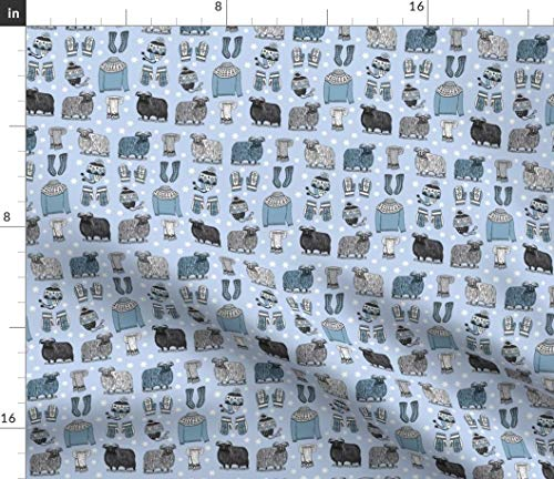 Spoonflower Icelandic Fabric - Knits 3 Sheep Wool Knit Mittens Hats Cotton Sweaters Ting Knitting Leroyj Print on Fabric by The Yard - Petal Signature Cotton for Sewing Quilting Apparel Crafts Decor