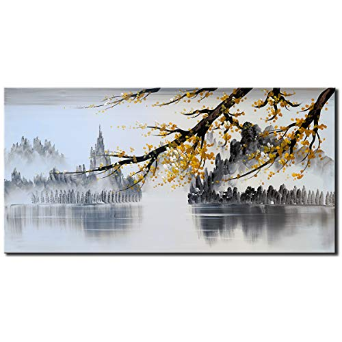 Black and White Landscape Wall Art with Yellow Plum Blossom Flower Artwork Handmade Traditonal Chinese Oil Painting