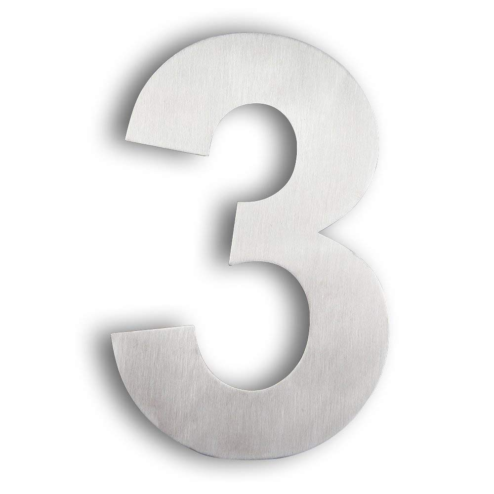 Modern House Number 3 - Large 8 Inch (20 cm) - Brushed Stainless Steel (Number 3 Three), Floating Appearance, Easy to Install and Made of Solid 304 Canada Supplier