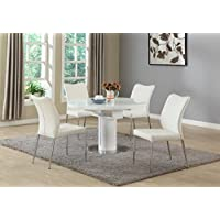 Milan NOEL-5PC-WHT Noel Gloss White Round Wooden 5 Piece Dining Set with White Chairs