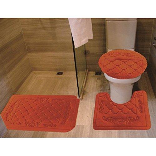 3 Piece Rust Memory Foam Flannel Embroidery Design Banded Bath Rug Mat Set 1 Contour Mat 1 Lid Toilet Cover 1 Bath Mat (Rust)