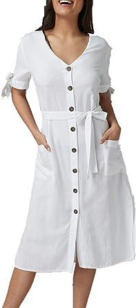L-Peach Vestido Camisa Larga de Algodón Bikini Cover Up para ...