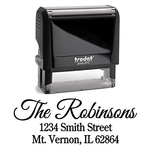 Personalized Self Inking Stamp - Return Address Stamp Customized - Custom Rubber Stamp – Housewarming Gift – Wedding Address Labels – Large 3 Lines – Family Last Name Customized Stamp - Wedding Address Stamps