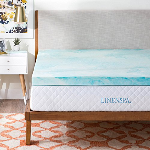 Mattress Pad Queen - Linenspa 3 Inch Gel Swirl Memory Foam Topper - Queen