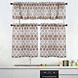 window treatments for bathrooms 3 Pieces Tier Curtains and Valances Set, Moroccan Tile Print Kitchen/Cafe Window Curtain Sets, Tailored Drapery Lattice Pattern Curtains for Bathroom, 36-Inch, Taupe/Brown