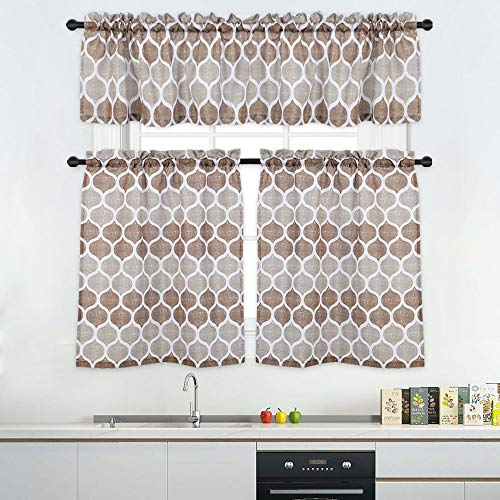3 Pieces Tier Curtains and Valances Set, Moroccan Tile Print Kitchen/Cafe Window Curtain Sets, Tailored Drapery Lattice Pattern Curtains for Bathroom, 36-Inch, Taupe/Brown