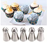 7 pcs Ball Russian tips, Elite choices Stainless Steel Tips Tulip Sphere Whip Cream Butter cream Icing Piping Nozzles DIY Baking Tools Small Torch for Decoration Cupcake Fondant Cake or any Pastry