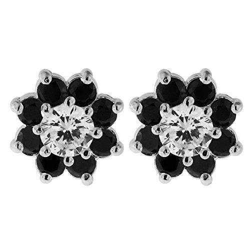 Studded Black CZ Stone Flower 925 Sterling Silver Ear Stud Earring Ear Jewelry (Diamond Black Studded Earrings)
