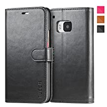 TUCCH HTC One M9 Case Leather Case for HTC One M9, Flip Book Wallet Case, Magnetic Lock with Foldable Kickstand, Credit Card Slots and Money Pocket(Black and Red)