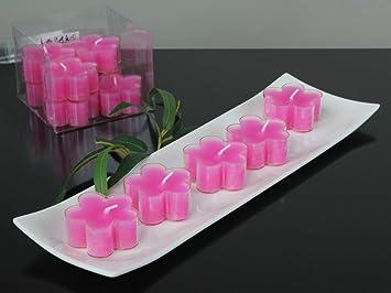 Teelichter Blüten Kerzen Pink Rosa Packung Mit 12 Stk Amazonde