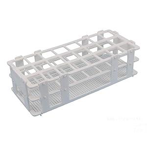 BIPEE Plastic Test Tube Rack for 25mm Tubes, 24 Well, White,Detachable (24 Hole)