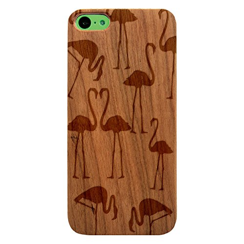 JewelryVolt Wooden Phone Case for iPhone 5c Cherry Wood Laser Engraved Love Animal Flamingo Couple Pattern ()