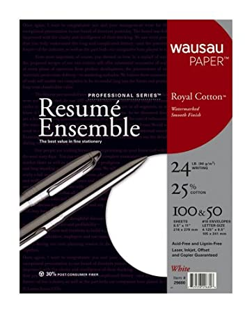 wausau professional series royal cotton resume kit 29680 white 100 sheets paper and 50 envelopes