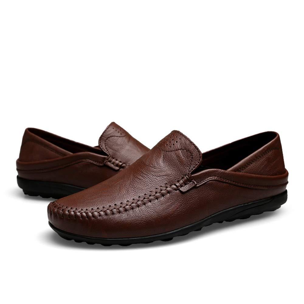 Chaussures d/ét/é 2019 Tige en Cuir Souple et l/éger /à Lacets pour Hommes Chaussures de Conduite durables et Respirantes avec /élastique /à Enfiler et /à Bout Arrondi Dundun-shoes