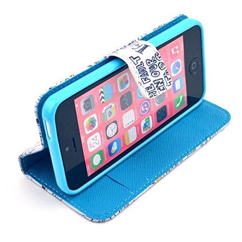 Yaobai-Cuir Coque Strass Case Etui Coque étui de portefeuille protection Coque Case Cas Cuir Swag Pour Apple Iphone 5c 5C