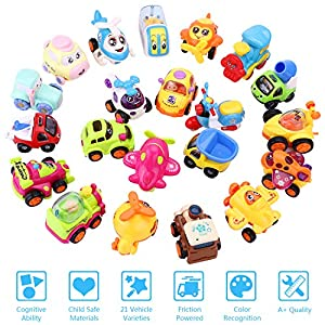 iPlay, iLearn 21 Vehicles Toy Play Set, Push and Go Cars, Construction Dump Trucks, Trains, Planes, Christmas Birthday Gifts for 1, 2, 3, 4 Year Olds, Baby, Infant, Little Kids, Toddlers, Boys, Girls