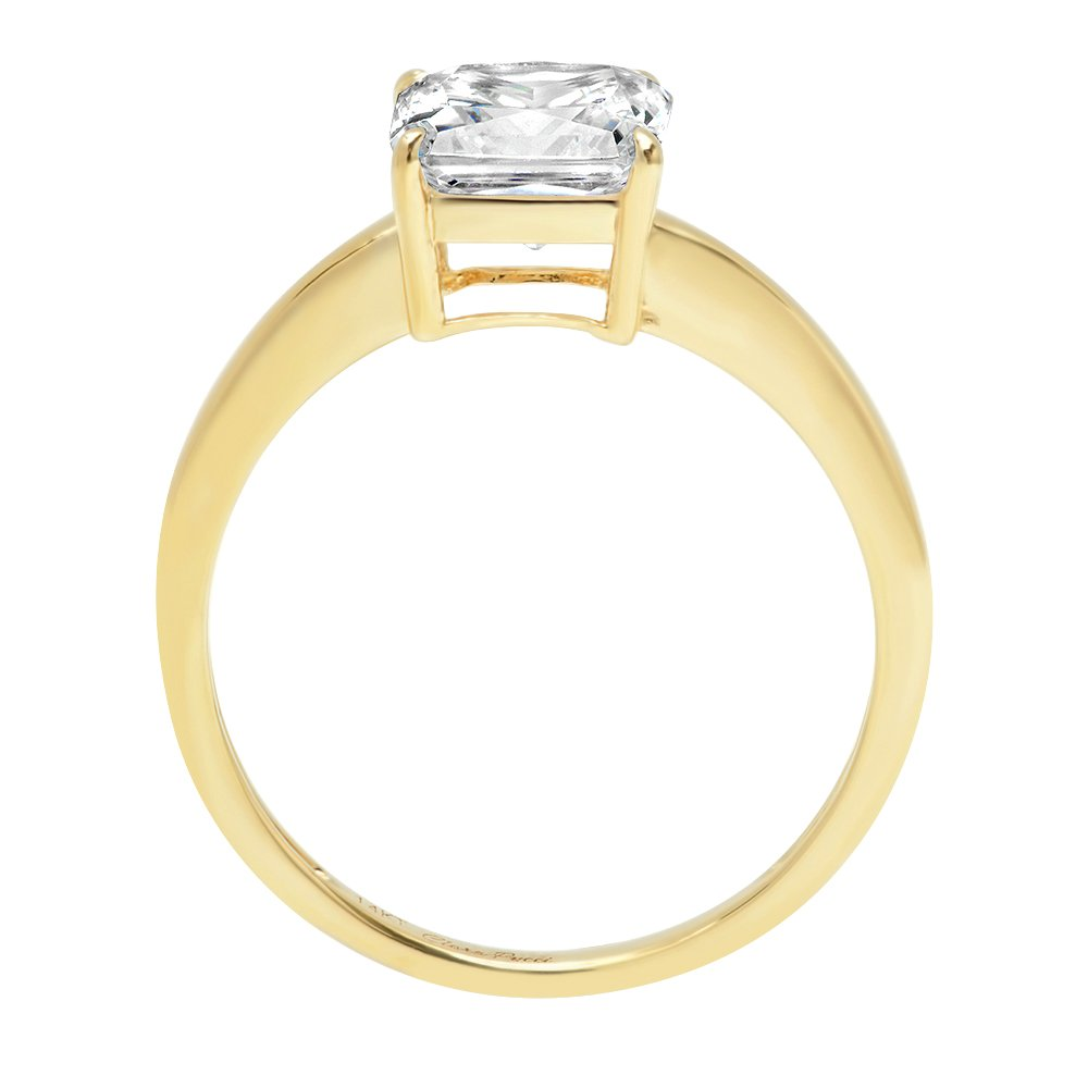 2ct Asscher Brilliant Cut Classic Solitaire Designer Wedding Bridal Statement Anniversary Engagement Promise Ring Solid 14k Yellow Gold, 4.25 by Clara Pucci (Image #4)