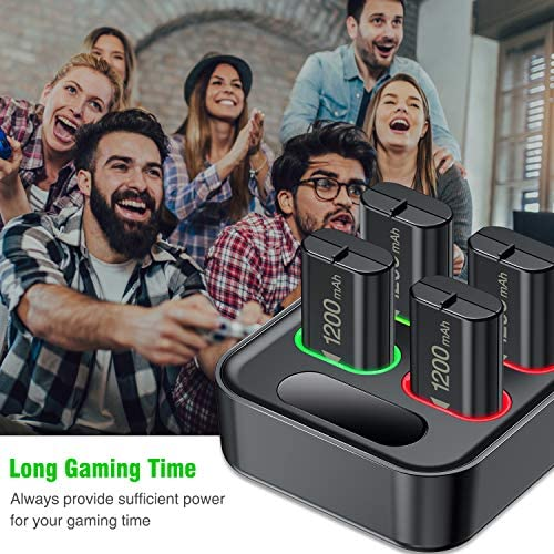 Charger for Xbox One Controller Battery Pack, with 4 x 1200mAh Rechargeable Xbox One Battery Charger Charging Kit for Xbox One, Xbox Series X|S, Xbox One X/ Xbox One S/Xbox One Elite Controllers