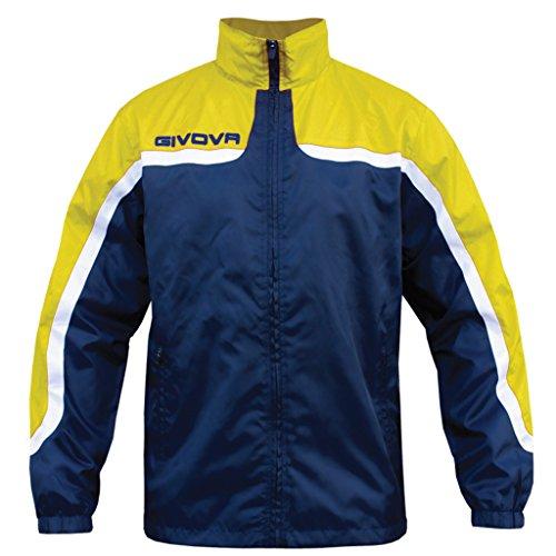 GIVOVA RAIN ASIA Giacca Impermeabile K-Way Antivento Con Zip Intera e Cappuccio, Colore: Blu/Giallo, Taglia: XL