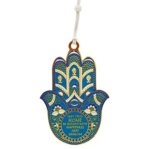 - Talisman4U Blue Enamel Good Luck Hamsa Hand Evil Eye Protection Amulet Wall Hanging Decor with Home Blessing (English Blessing)