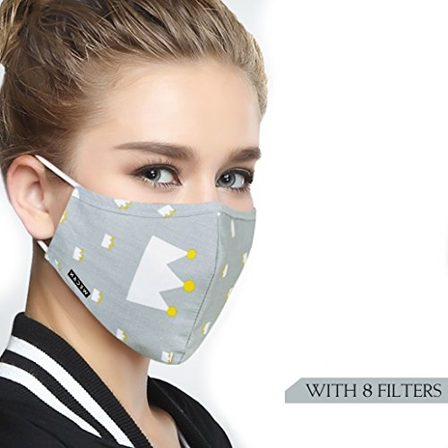 Cotton Mouth Masks Replaceable Filter (One Mask + 8 Filters) 4 Layer Activated Carbon Filter Insert Dust Mask Washable For Women Gray Crown by Servefox