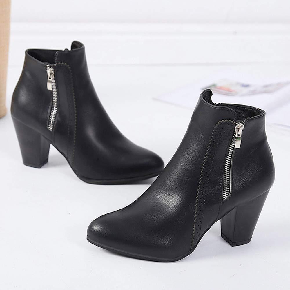 HhGold Ausverkauf Vintage Damen Zipper Martin Stiefel Block Leder Stiefeletten Scrub Block Stiefel Fersenschuhe (Farbe   Schwarz) fc26f3