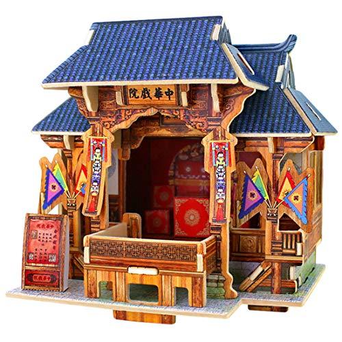 [해외]Yamix World Architectural House Building Model Kits DIY 3D Puzzle House Kit Wooden Jigsaw Puzzles Birthday Gifts for Boys and Girls (Chinese Theatre) / Yamix World Architectural House Building Model Kits DIY 3D Puzzle House Kit Woo...