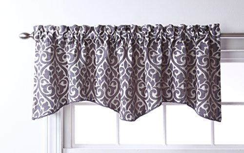 Stylemaster Twill and Birch Bryce Chenille Scalloped Valance with Cording, 55 by 17-Inch, Pewter (Valance For Kitchen Window)