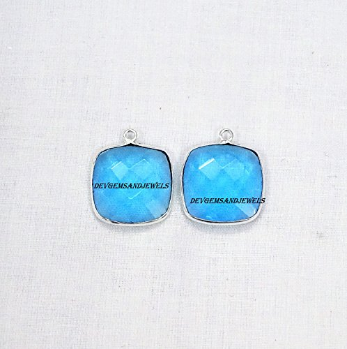 (1 Piece Swiss Blue Topaz Hydro Cushion 17 mm 925 Silver Plated Single Bail Faceted Bezel Charm Pendant.)