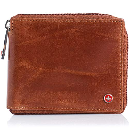 Alpine Swiss Mens Leather Zip Around Wallet ID Card Secure Zipper Bifold Brown ()