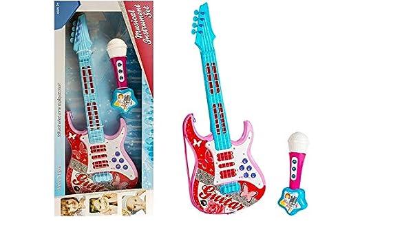 BSD Guitarra eléctrica con Cuerdas de micrófono Toy Roses: Amazon.es: Juguetes y juegos