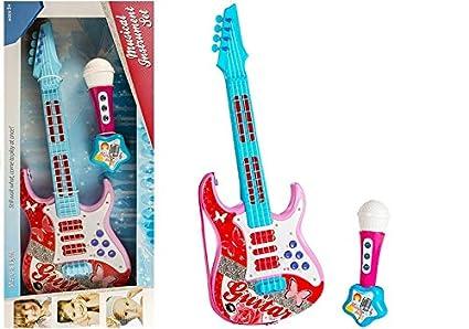 BSD Guitarra eléctrica con Cuerdas de micrófono Toy Roses: Amazon ...