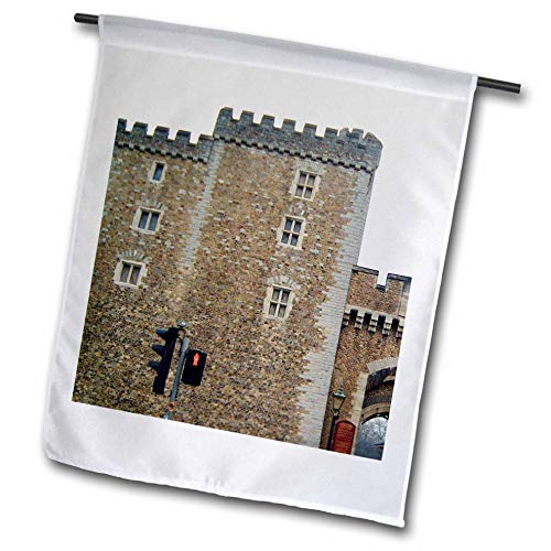 3dRose Jos Fauxtographee- Cardiff Wales Castle Wall - The Outer Walls of The Cardiff Castle in Wales on a Main Street - 12 x 18 inch Garden Flag ()