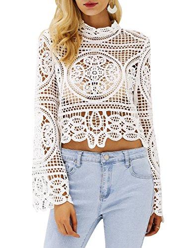 Heel Lace Top - Simplee Women's Cool Flower Hollow Out Causal Summer Crop Tops Blouse Shirt