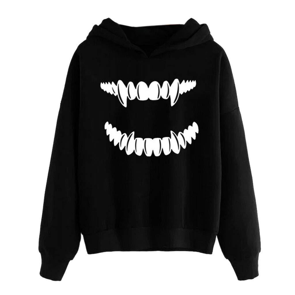 Sayhi Hot Sales Womens Halloween Scary Vampire Hooded Tops Long Sleeve Sweatshirt Pullover Winter Blouse(Black,L) by Sayhi