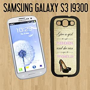 Shoes Quote Conquer the World Vintage Custom made Case/Cover/skin FOR Samsung Galaxy S3 - Black - Rubber Case